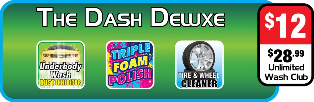 List of features of Splash and Dash Car Wash Package - The Dash Deluxe