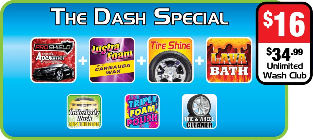 List of features of Splash and Dash Car Wash Package - The Dash Special